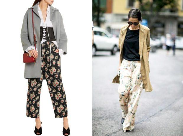 брюки весна-лето 2018: пижамный стиль черные в цветы белые в принт восточный