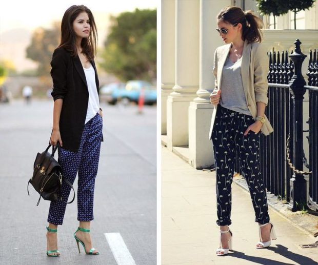 брюки весна-лето 2018: пижамный стиль короткие темно-синие в рисунки