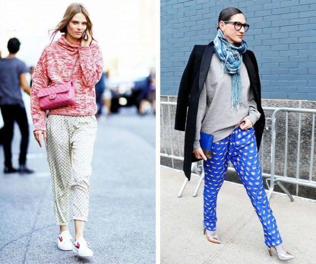 брюки весна-лето 2018: пижамный стиль белые короткие голубые с рисунком