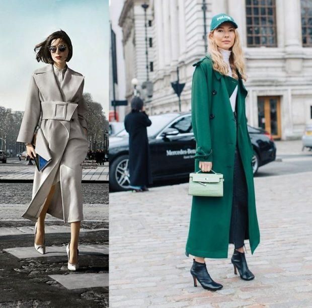 женские плащи 2019-2020: серый зеленый длинный с поясом