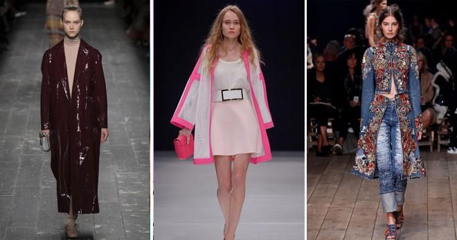 женские плащи 2018: бордовый розово-белый джинсовый в цветы