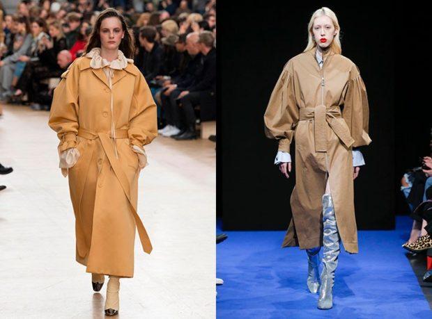женские плащи 2019-2020: рукава объемные оранжевый коричневый