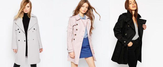 модные плащи: двубортный серый розовый черный прямые
