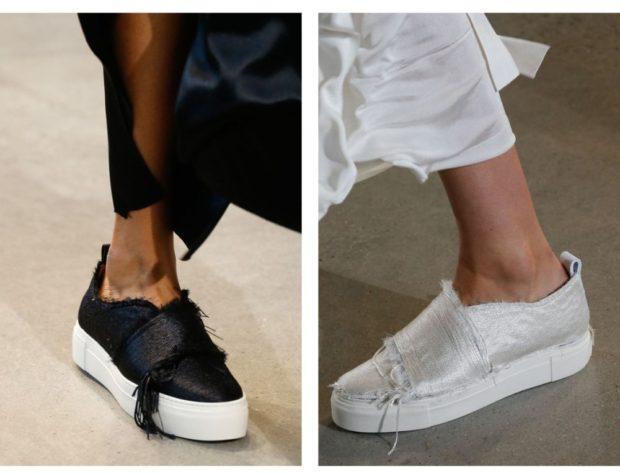 с чем носить женские слипоны: тканевые черные белые
