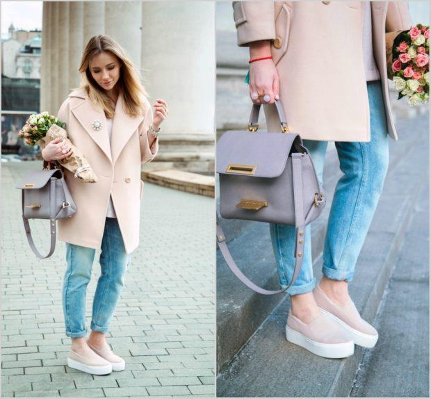 Слипоны женские с чем носить: на толстой подошве под пальто
