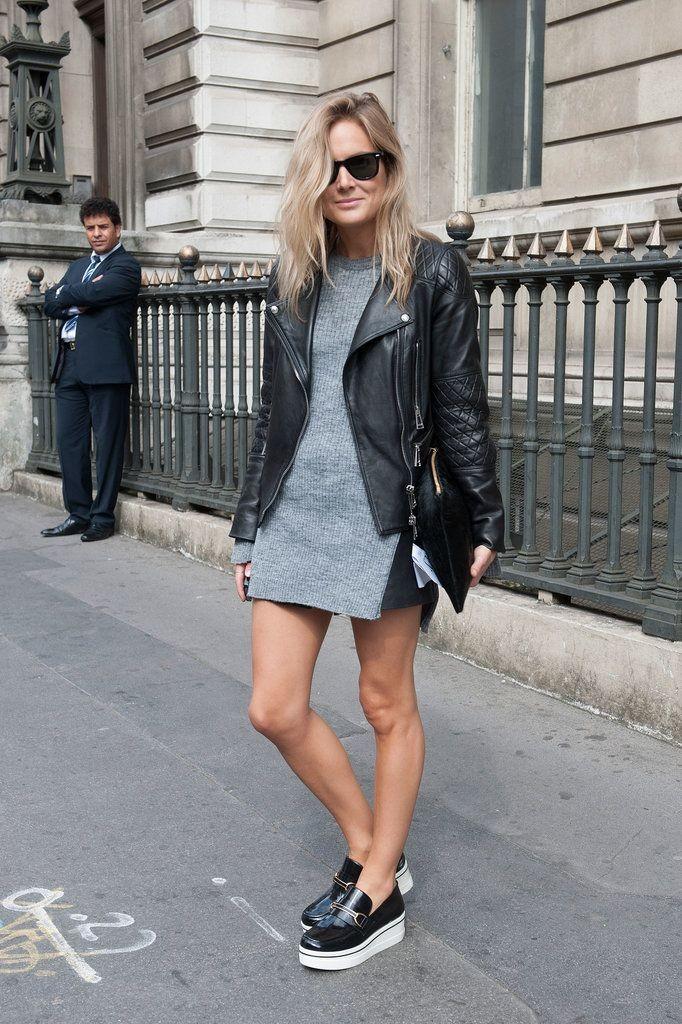 Слипоны женские фото с чем носить: под платье серое