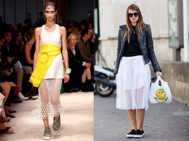 Слипоны женские с чем носить: под юбку миди под юбку белую