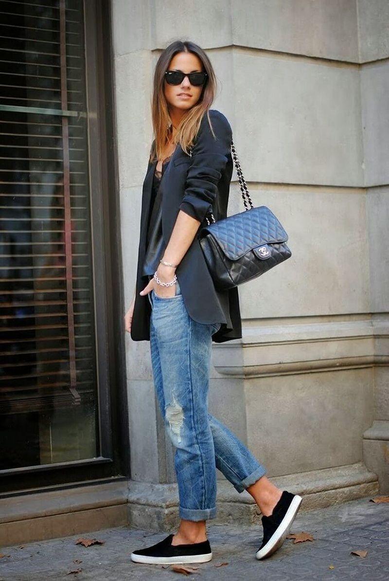 Слипоны женские фото с чем носить: под джинсы короткие и пиджак