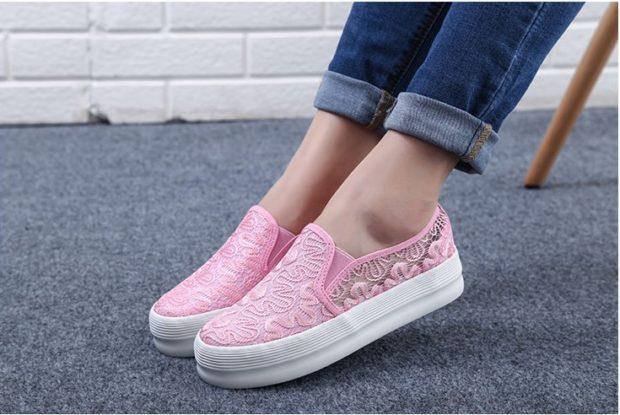 розовые кружевные под джинсы