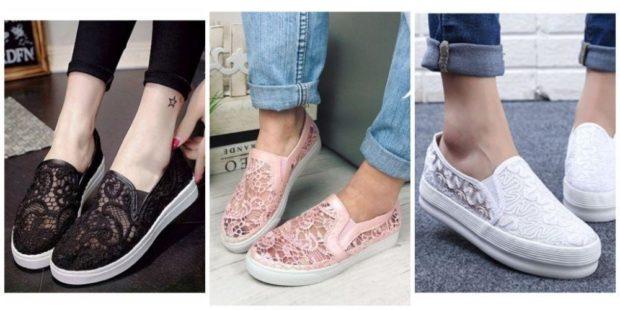 Слипоны женские с чем носить: кружевные черные розовые белые под джинсы