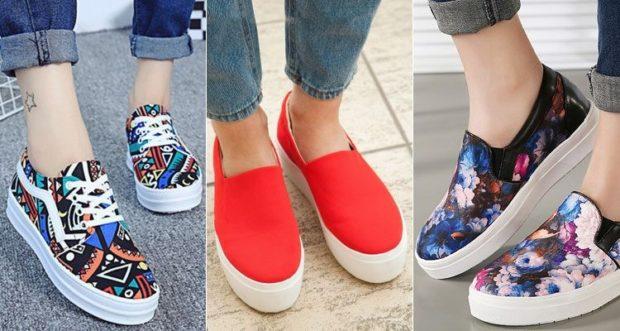 Слипоны женские фото с чем носить: цветные под джинсы