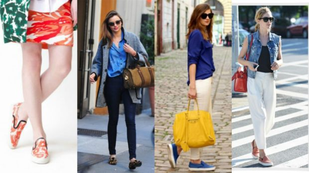 Слипоны женские фото с чем носить: цветные под юбку штаны брюки