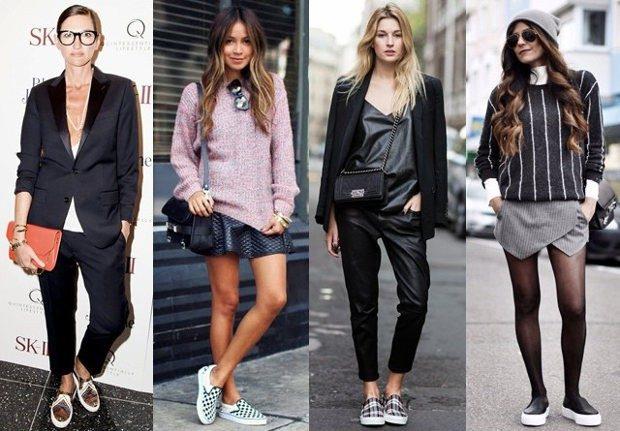 Слипоны женские фото с чем носить на тонкой подошве под брюки шорты