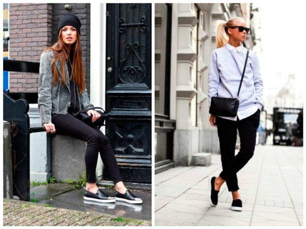 Слипоны женские фото с чем носить на тонкой подошве черные