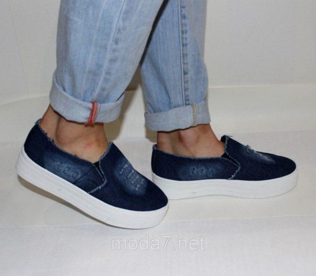 Слипоны женские фото с чем носить: на толстой подошве джинсовые под светлые джинсы