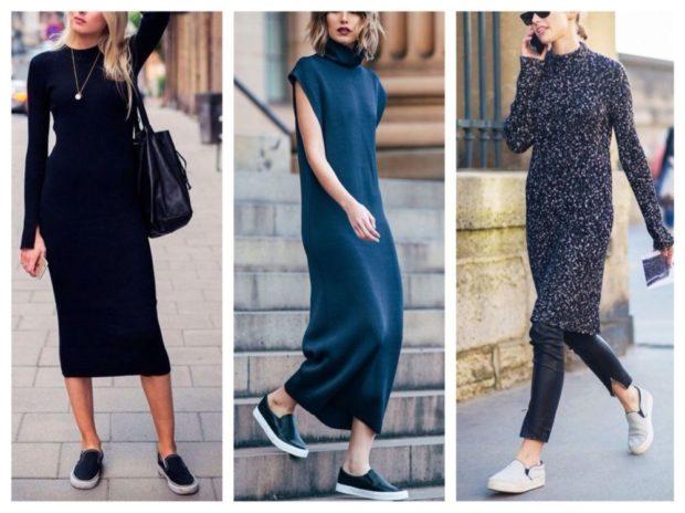 Слипоны женские фото с чем носить: под платье длинное черное синее