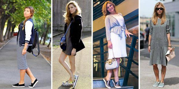 Слипоны женские фото с чем носить: под платье юбку по колено
