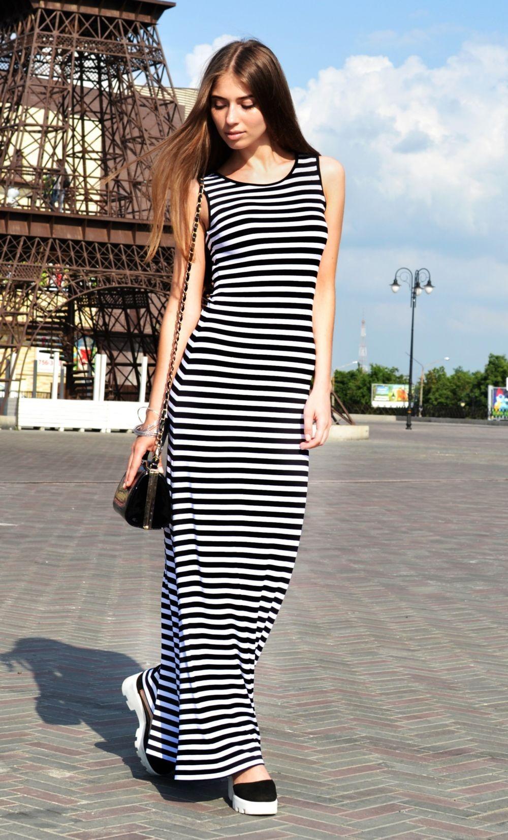 Слипоны женские фото с чем носить: под платье полосатое