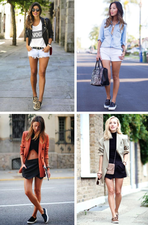 Слипоны женские фото с чем носить: на тонкой подошве под шорты катоновые