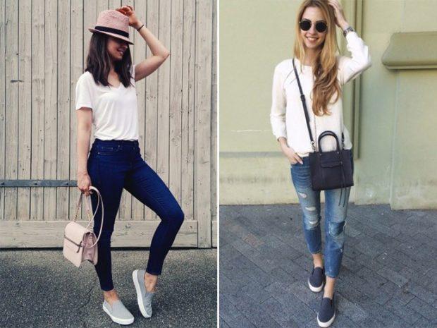 Слипоны женские фото с чем носить: светлые под джинсы укороченные