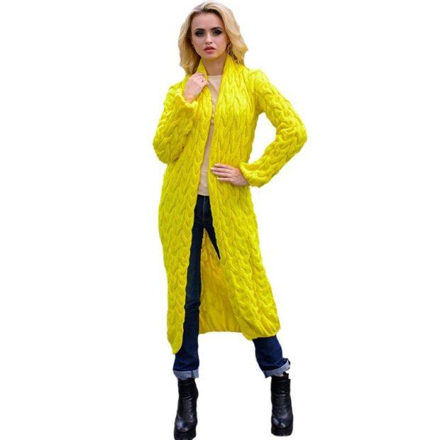 Модные кардиганы Лало осень зима 2018 2019 вязанные, желтый цвет
