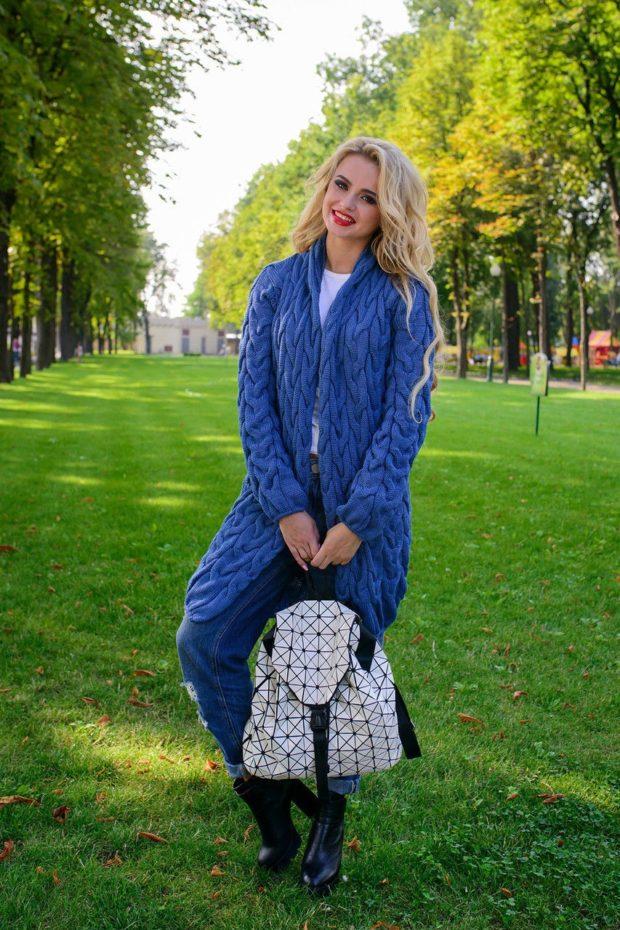 Модные кардиганы Лало осень зима 2019 2020 вязанные синий цвет