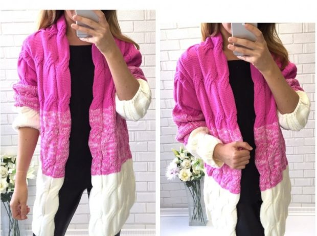 Модные кардиганы Лало осень зима 2019 2020 вязанные переходящий розовый в белый цвет