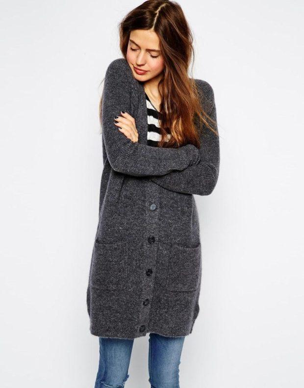 Модные кардиганы осень зима 2019-2020: шерстяной с пуговицами серого цвета
