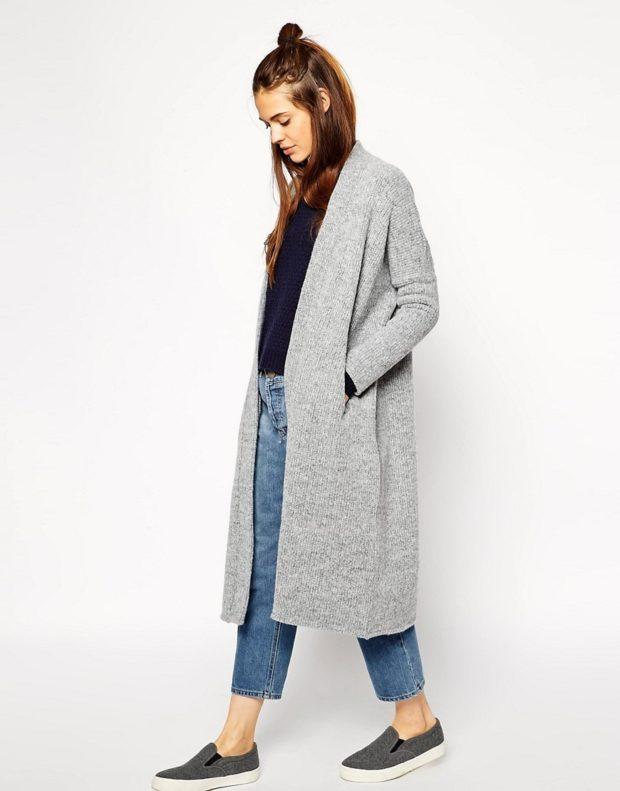 Модные кардиганы осень зима 2019-2020: длинный серого цвета