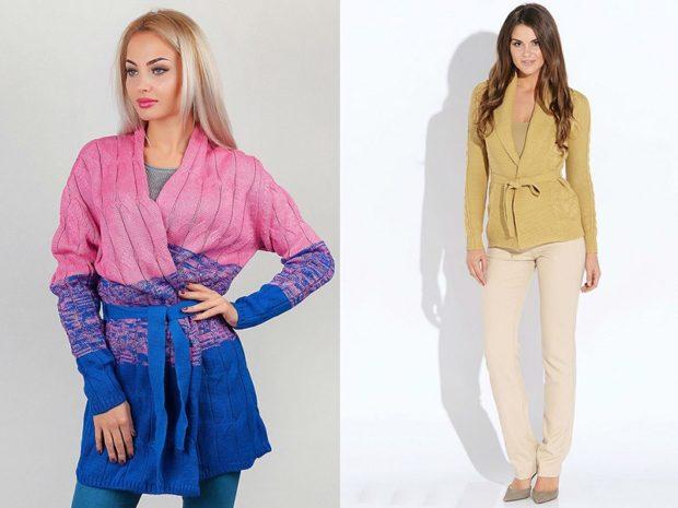 Модные кардиганы осень зима 2019-2020: вязаный цветной приталенный
