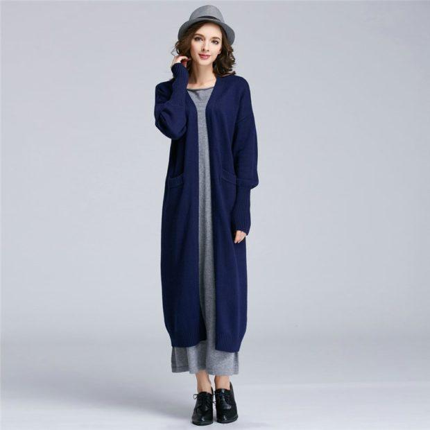 Модные кардиганы осень зима 2019-2020: шерстяной синего цвета