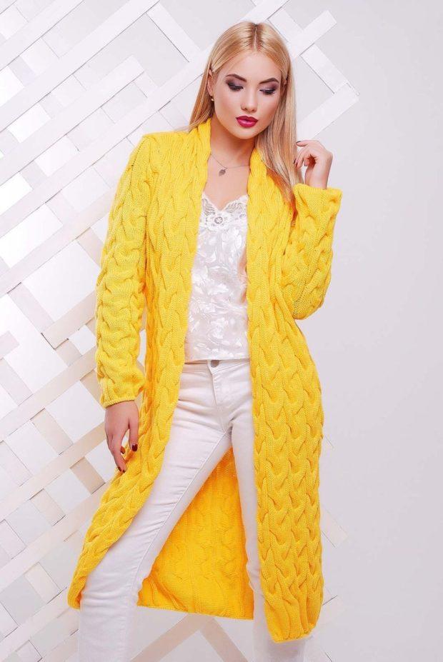 Модные кардиганы осень зима 2019-2020: вязаный желтого цвета