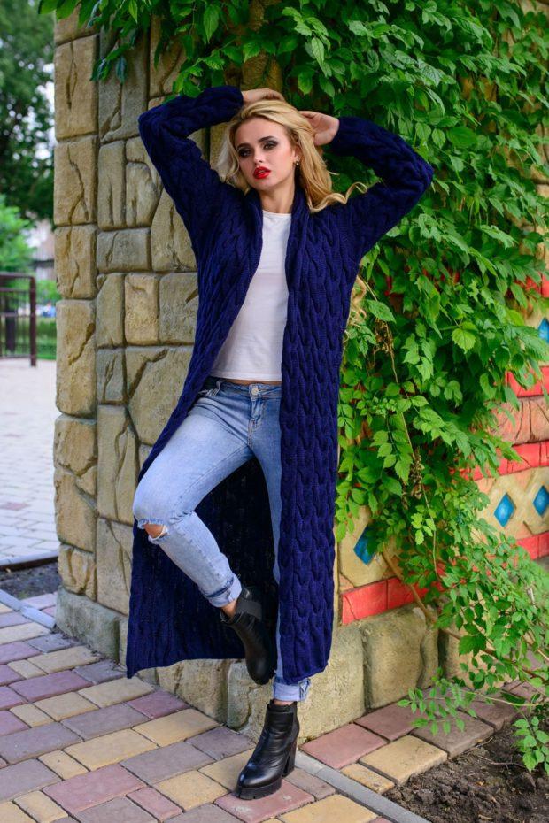 Модные кардиганы осень зима 2019-2020: вязаный сиреневого цвета