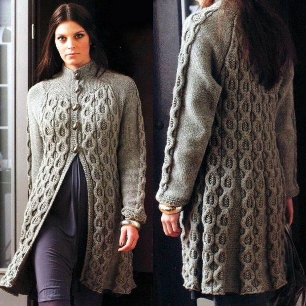 Модные кардиганы осень зима 2018 2019: вязанный с пуговицами и узорами, серого цвета
