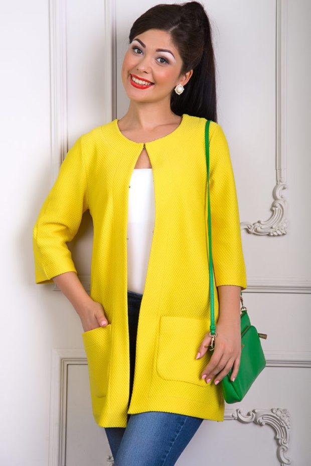 Модные кардиганы осень зима 2019 2020 синтетический без застежек, желтого цвета