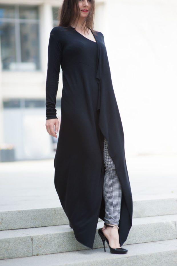 Модные кардиганы осень зима 2019 2020 длинный асимметричный черного цвета