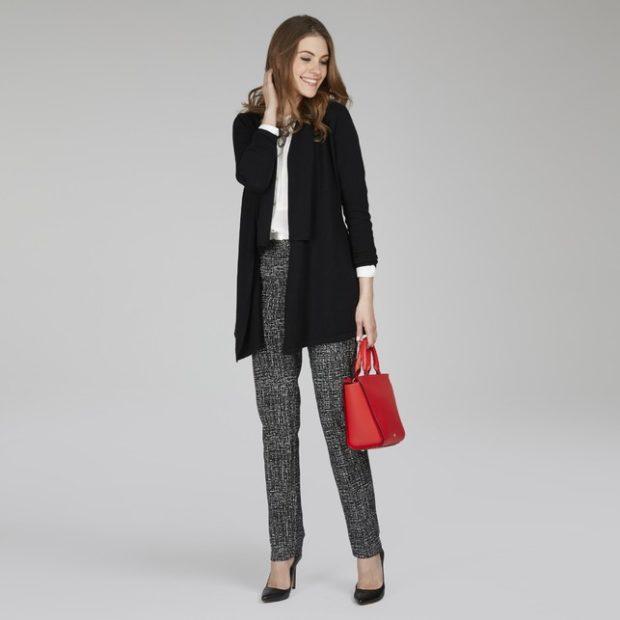 Модные кардиганы осень зима 2019 2020 вязанный черного цвета