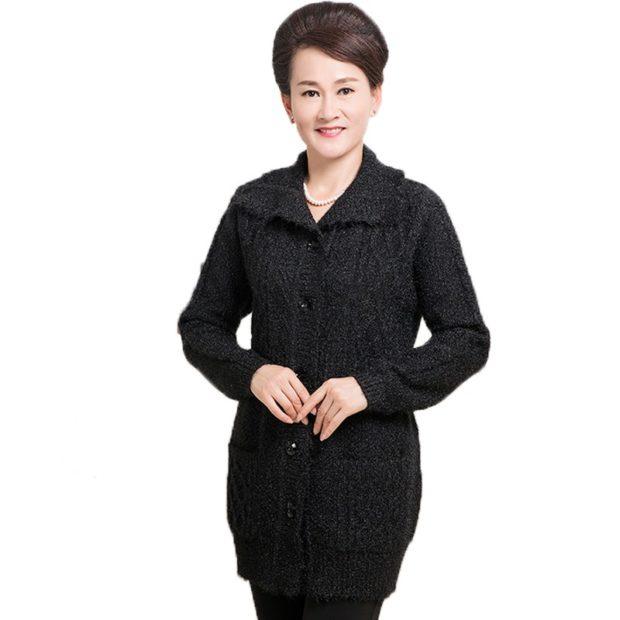 Модные кардиганы осень зима 2019 2020 шерстяной с пуговицами темно серого цвета