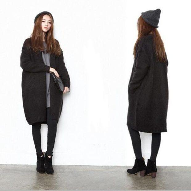 Модные кардиганы осень зима 2019 2020 теплый осенний черного цвета