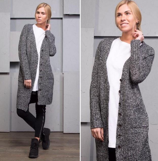 Модные кардиганы осень зима 2019 2020 с пуговицами серого цвета