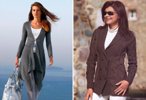 Модные кардиганы осень зима 2019 2020 вязанный с пуговицами коричневого цвета и серого цвета
