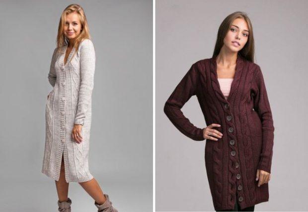 Модные кардиганы осень зима 2019 2020 длинный вязанный с пуговицами коричневого цвета и белого цвета