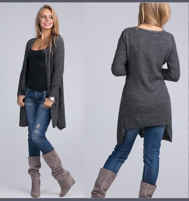 Модные кардиганы осень зима 2019 2020 асимметричный вязанный серого цвета