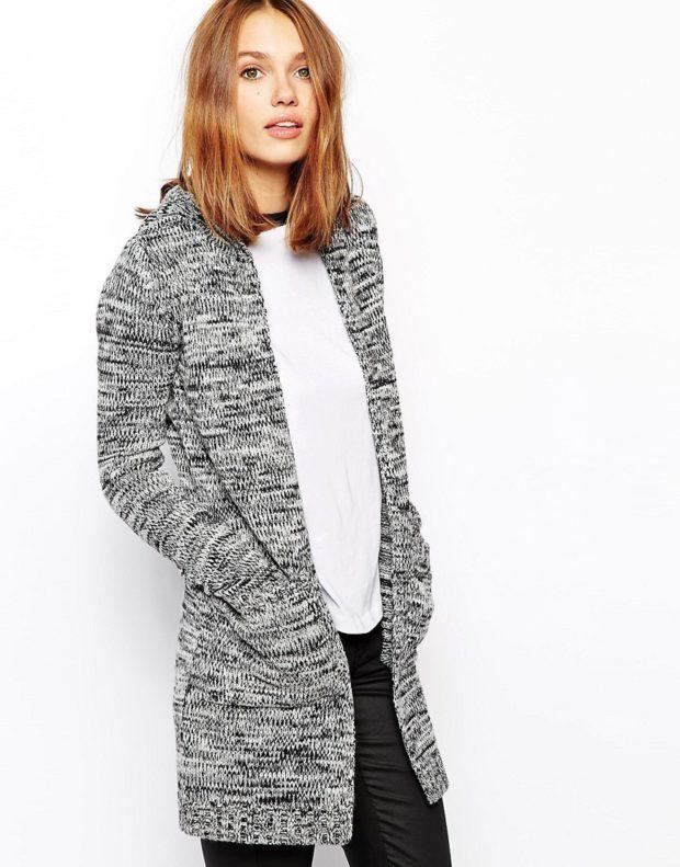 Модные кардиганы осень зима 2019 2020 вязанный серого цвета