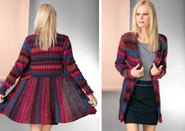 Модные кардиганы осень зима 2018 2019 приталенный вязанный , цветной