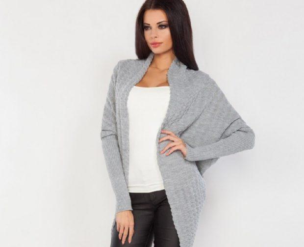 Модные кардиганы осень зима 2018 2019: без застежек, серого цвета