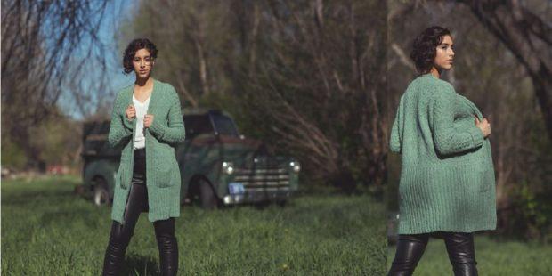Модные кардиганы осень зима 2018 2019 вязанный , мятно-зеленого цвета