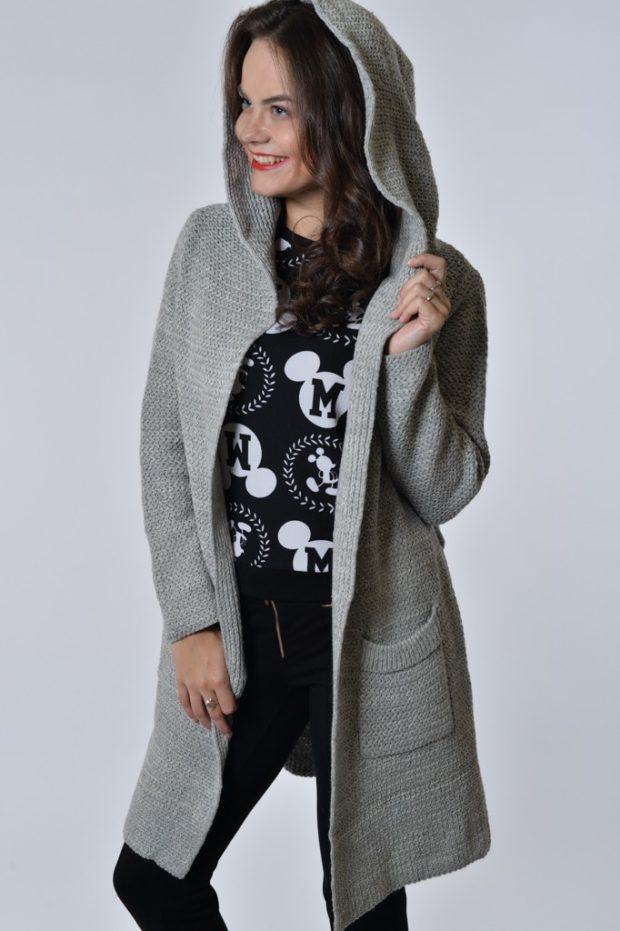 Модные кардиганы осень зима 2019 2020 асимметричный вязанный с капюшоном серого цвета