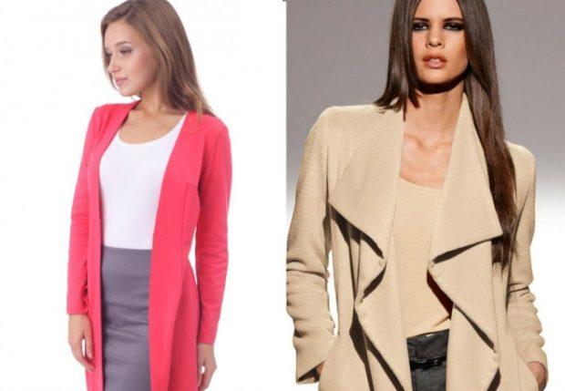 Модные кардиганы осень зима 2019 2020 приталенный трикотаж розового цвета и бежевого