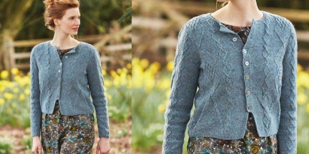 Модные короткие кардиганы осень зима 2019 2020 короткий вязанный с пуговицами синего цвета